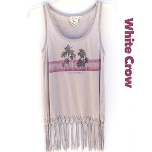 White crow by Buckle fringe palm tree tank top CA